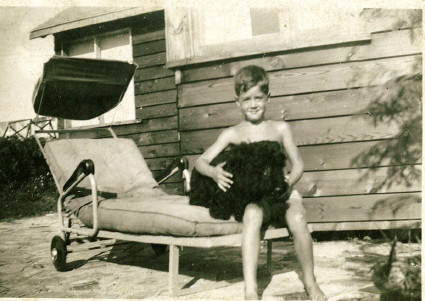 With Angus, 1949, Lake Chemong, Ontario